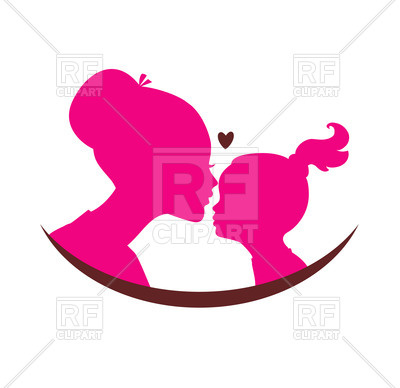 Mom And Daughter Love   Pink Silhouette Of Heads With Heart 47878