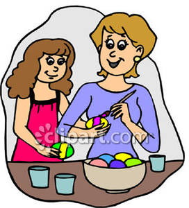 Mom And Daughter Paint Easter Eggs Royalty Free Clipart Picture