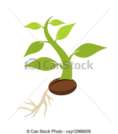 Vector Clipart Of Seedling   New Born Plant Growing From Seed Vector