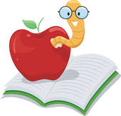 Apple Bookworm   Clipart Graphic