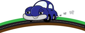 Car Clipart Image   Cute Cartoon Car With Smiling Face Taking A Drive