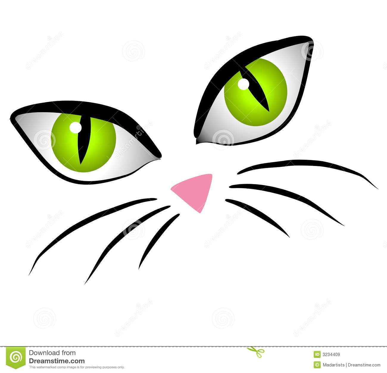 Clip Art Cartoon Illustration Of The Facial Features Of A Cat   Big