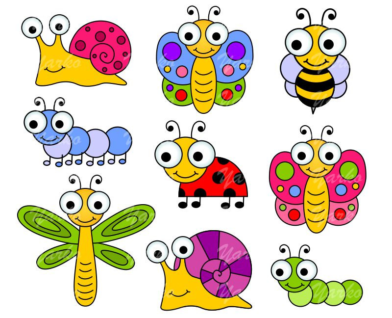 Cute Bugs Clip Art Insects Clipart Ladybug Snail By Yarkodesign
