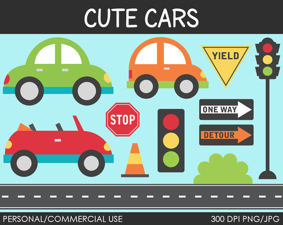 Cute Cars Clipart   Digital Clip Art Graphics For Personal Or