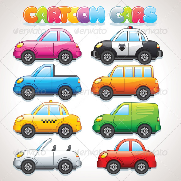 Cute Cartoon Cars  Colorful Vector Clip Art   Travel Conceptual