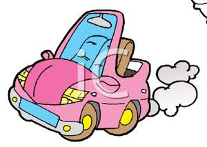 Cute Little Pink Convertible Car   Royalty Free Clipart Picture
