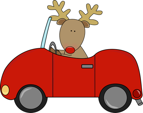 Driving A Car Clip Art   Reindeer With A Red Nose Driving A Red Car