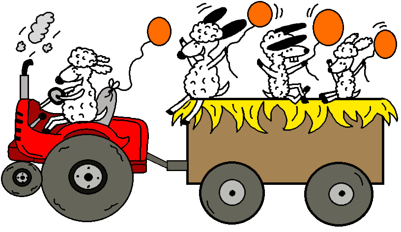 Fall Festival Hay Ride Coloring Page And Clipart Picture  Sheep With