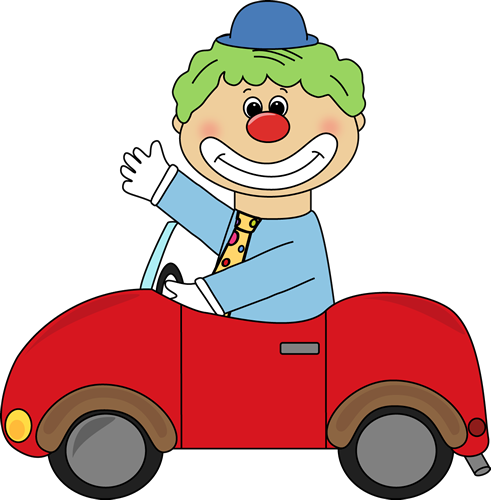 In A Clown Car Clip Art Image   Clown Driving A Little Red Clown Car