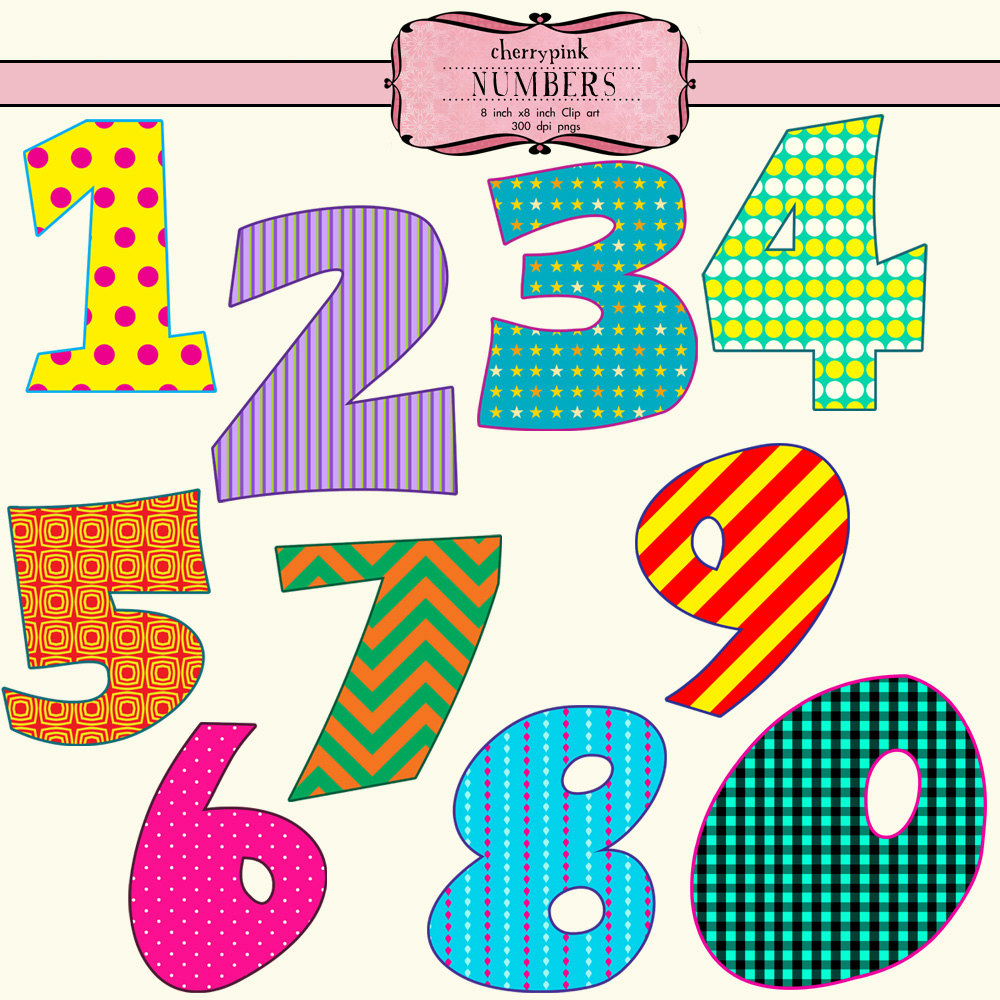 Items Similar To Number Clip Art 10 Png Digital Files Bright And
