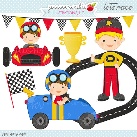 Lets Race Cute Digital Clipart   Commercial Use Ok   Race Car Driver