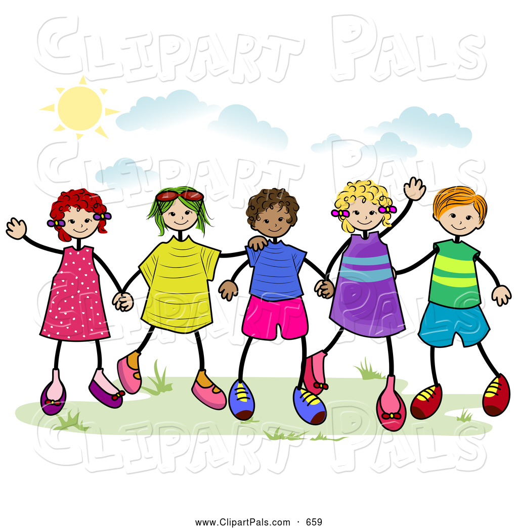 Outside Clipart Pal Clipart Of A Group Of Diverse Stick Children