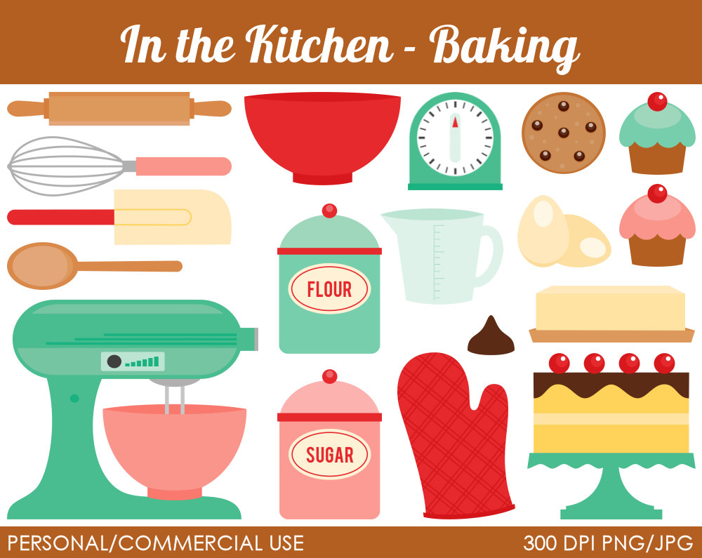 Clip Art Baking Clipart vintage baking clipart kid popular items for on etsy