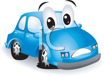 Royalty Free Clipart Image  Cute Little Cartoon Car With A Flat Tire