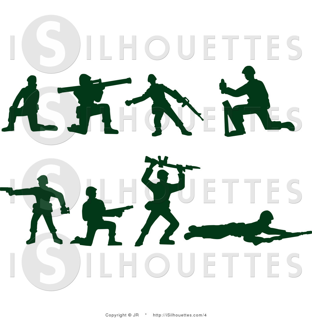 Silhouette Vector Clipart Of Green Army Soldiers By Jr    4