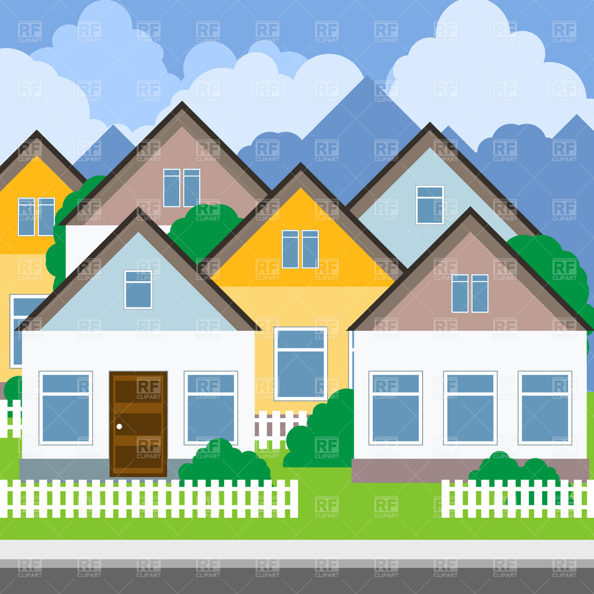 Suburb   Street And Houses Download Royalty Free Vector Clipart  Eps