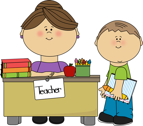 Teacher And Student Clip Art Image   Teacher And Student At A Desk