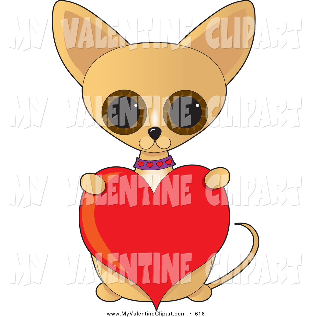 Valentines Clipart Of A Adorable Big Eyed Tan Chihuahua Dog Sitting Up