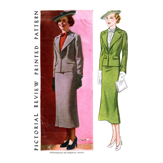 1930s Suit Pattern Bust 42 Pictorial Review 8345 Straight Skirt Wide