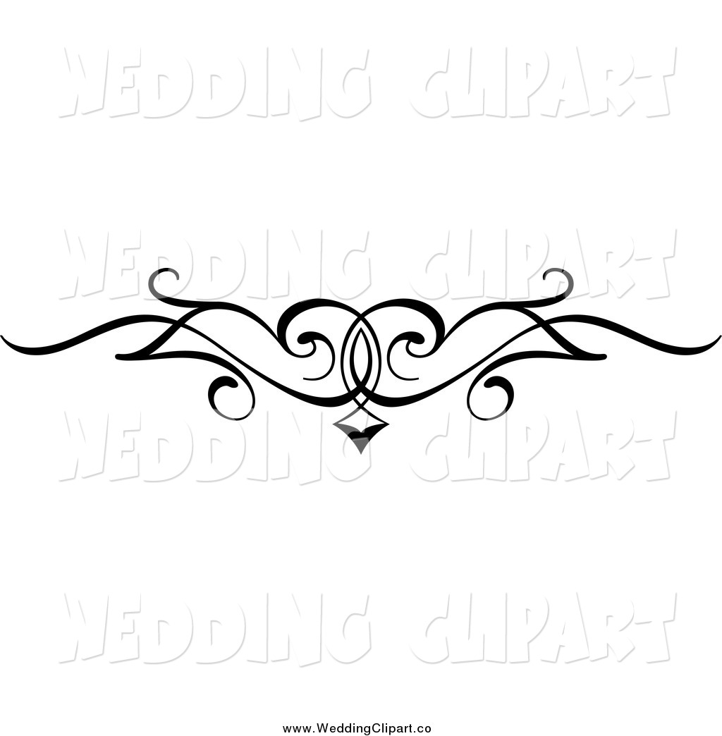 Black And White Wedding Swirl Border Flourish Design Element Black And