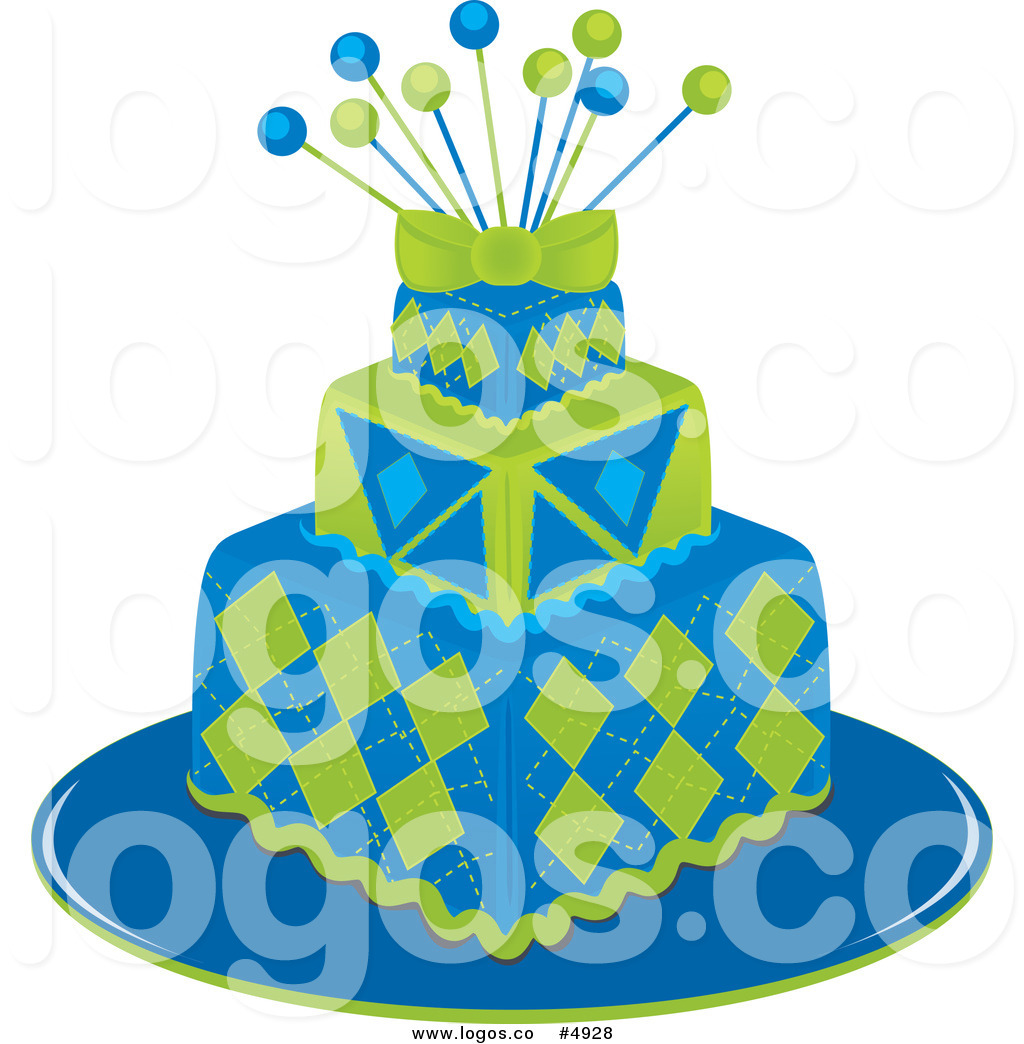 Blue Birthday Cake Clipart Royalty Free Vector Clipart