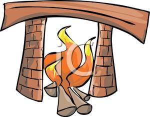 Burning Logs In A Fireplace Clipart Image