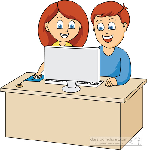 Computers   Girl And Boy Working On Computer   Classroom Clipart