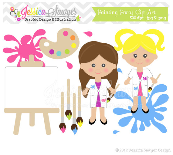 Instant Download Painting Clipart   Teacher Supply Clip Art   School