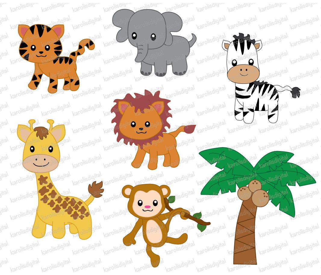 Clip Art Jungle Animal Clipart cute jungle animal clipart kid animals 7 digital clip art set by karolisdigital on etsy
