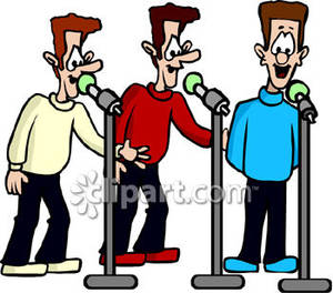 Men Singing In Three Part Harmony   Royalty Free Clipart Picture