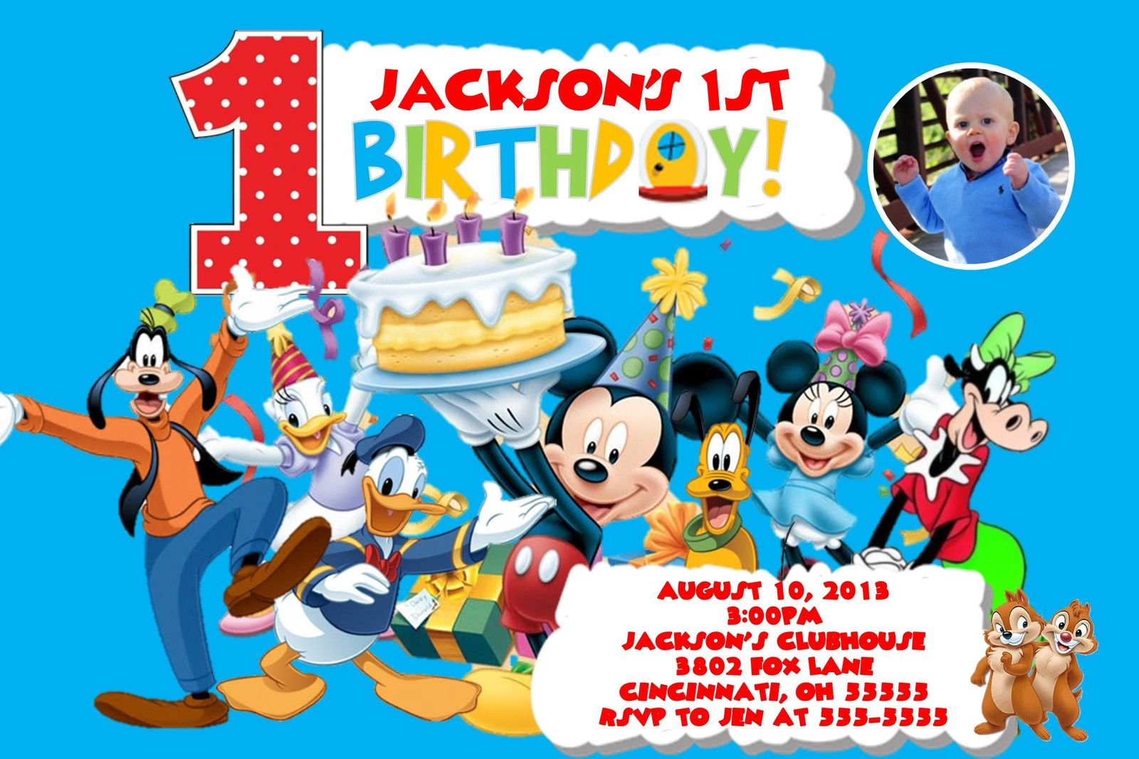 Mickey Mouse Clubhouse Custom Designed Birthday Party Invitation Add