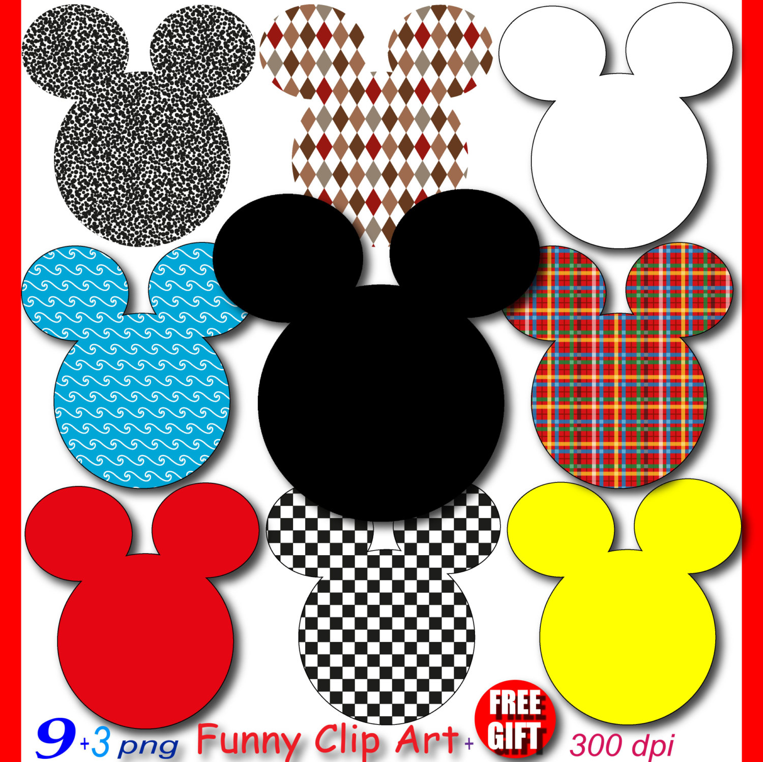 Mickey Mouse Party Digital Clipart Minnie Mouse By Digift On Etsy