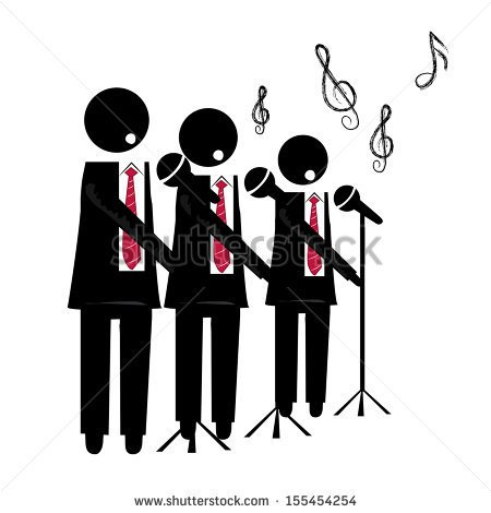 Of A Choir With Microphone Singing To The Background   Stock Vector