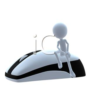 Person Sitting On A Wireless Computer Mouse   Royalty Free Clipart