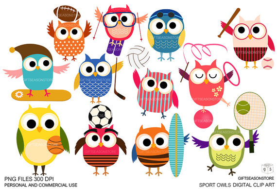 Sport Owls Digital Clip Art For Personal And Commercial Use   Instant