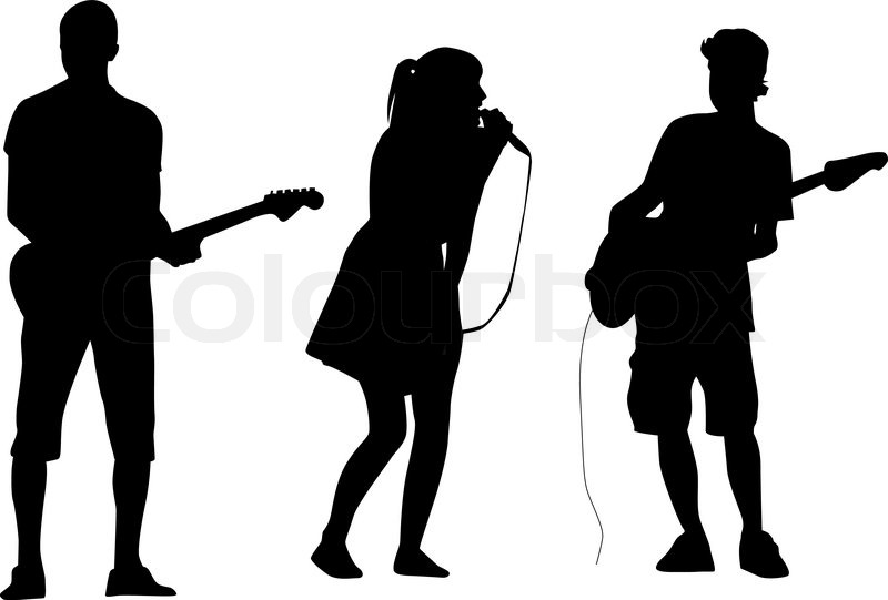 Vector Of  Guitarist And Singer Playing And Singing Silhouette Vector