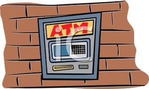 Atm Machine On The Side Of A Bank   Royalty Free Clipart Picture
