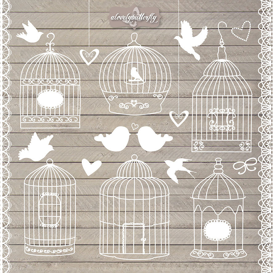 Bird Cage Clipart Rustic Wedding Invitation By Alovelybutterfly