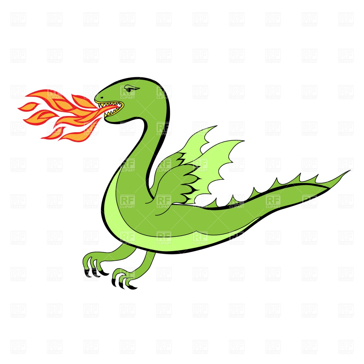 Cartoon Dragon Blowing Smoke Rings Clipart   Free Clip Art Images