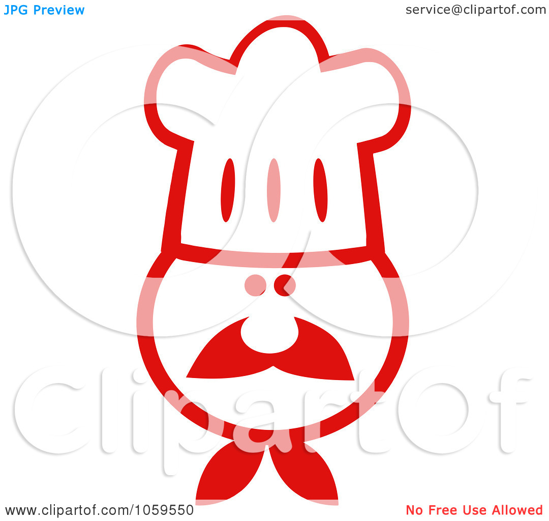 Clip Art Illustration Of A Red And White Chef Face Wearing A Hat By