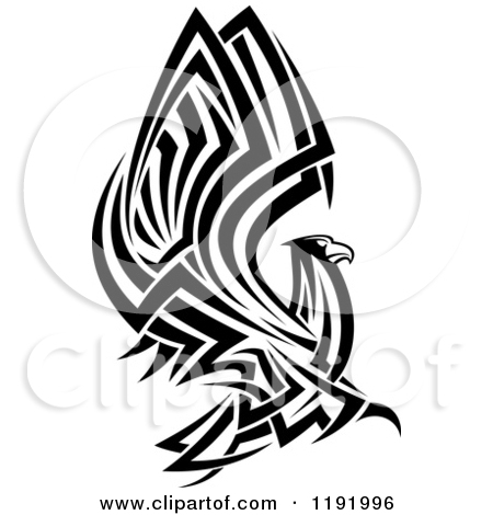 Clipart Of A Black And White Flying Tribal Eagle Falcon Or Hawk