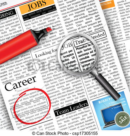 Clipart Vector Of Job Search In Newspaper   Illustration Of Searching
