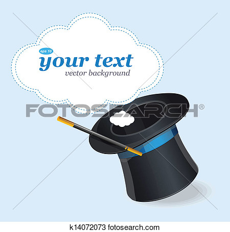 Drawing   Magic Hat Vector And Text  Fotosearch   Search Clipart