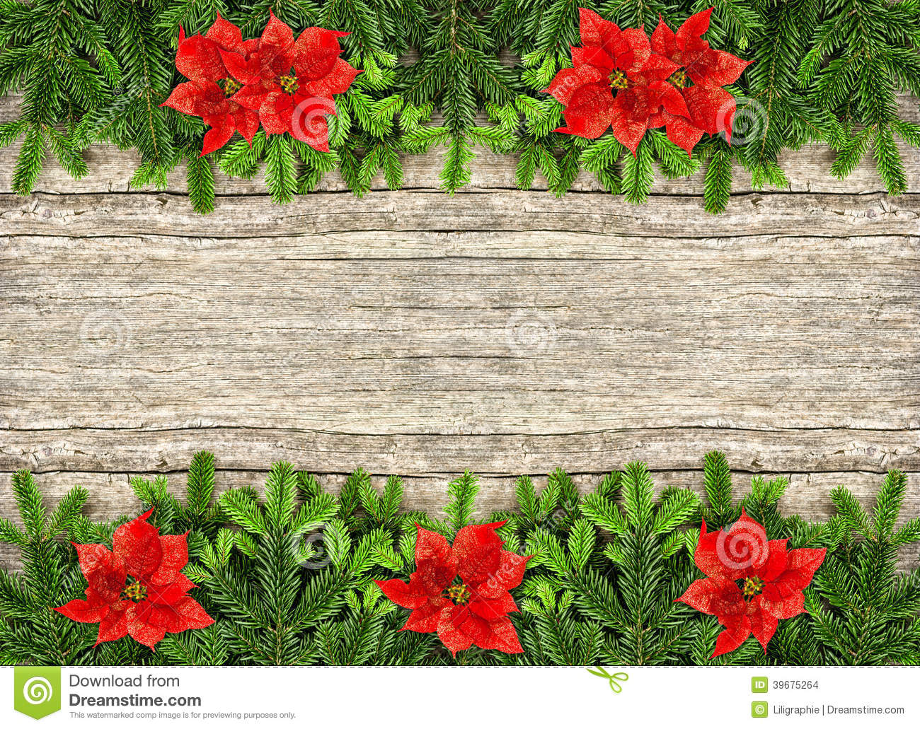Fresh Christmas Tree Branches Over Rustic Wooden Background  Border