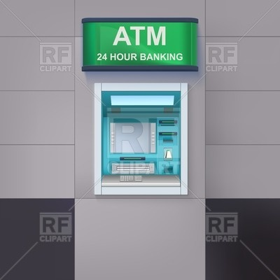 In The Wall Atm Cash Machine With A Sign 24 Hour Banking Vector