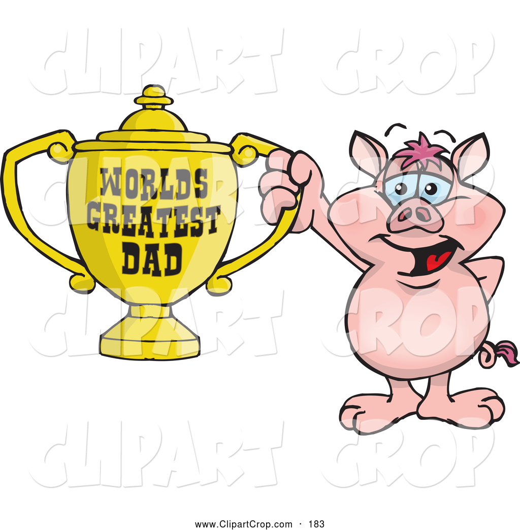 Larger Preview  Clip Art Vector Of A Friendly Pig Character Holding A