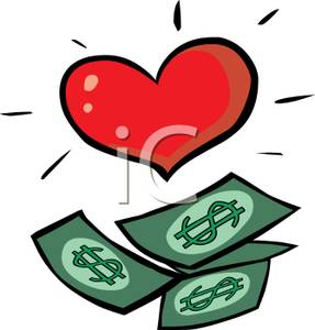 Paper Money And A Red Heart Clip Art Image
