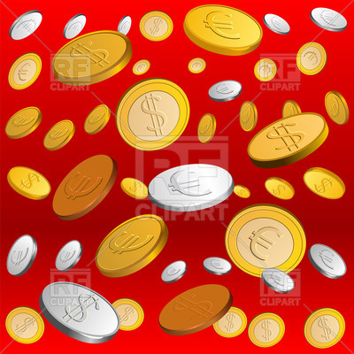 Rain Of Money   Falling Coins On Red Background 44003 Backgrounds