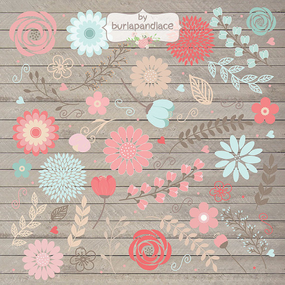 Rustic Wedding Clipart Shabby Chic Clipart Hand Drawn Clipart