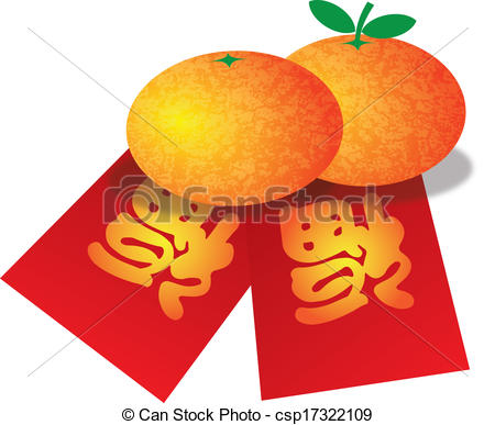 Vector   Chinese New Year Oranges And Red Money Packets Illustration
